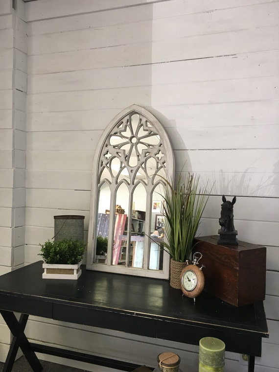 Arched White Mirror Church Mirror White Mirror Painted