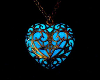 Blue And Purple Enchanted Heart Necklace Glow In The Dark Heart Necklace Glowing Jewelry Antique Silver (glows aqua blue)