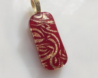 Dichroic Glass Pendant, Fused Glass Jewelry, Red Gold Dichroic Necklace