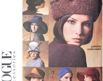 Womans Hats Sewing Pattern -  Ladies Turban Wide Brim Fedora Hat pattern by Patricia Underwood - Size Small and Medium 21 1/2 and 22 1/2