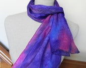 Multi-color silk scarf hand painted in shades of blue, purple and magenta pink is ready to ship, Crepe silk scarf #530
