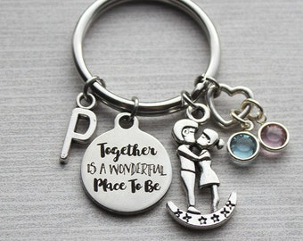 Together Is A Wonderful Place To Be Keychain, Initial Keychain, Initial Jewelry, Soulmate Keychain, Soulmate Jewelry, Soulmate Gifts, Gifts