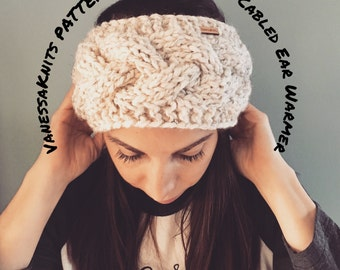 KNITTING PATTERN - The EMMA // Cabled Ear Warmer - Headband // Includes Pictures // Level: Easy