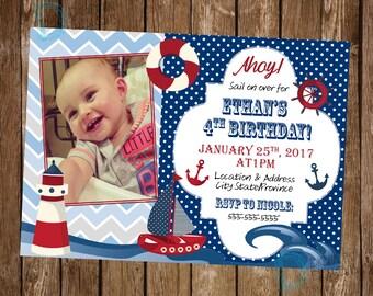 Nautical Birthday Invitation - Sailboat Birthday - Nautical Invite - Nautical Birthday - Sailor Birthday Invitation - Nautical Party Idea