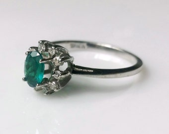 Vintage Emerald & Diamond Accents Halo Ring, 10K White Gold, .5 Carat Oval Emerald SIZE 6
