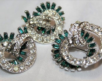 SALE! Vintage High End Couture Emerald Green Pave Rhinestone Dazzling Exquisite Brooch Earrings Set SD1