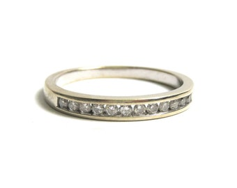 Vintage 14k White Gold Diamond Band - Size 7 - Channel Setting - Promise Ring - Engagement - Wedding band - Vintage Bride # 1811