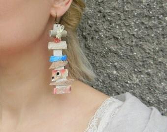 Extra long assemblage earrings Paper earrings Watercolor jewelry Hand painted earrings Huge earrings Funky earrings Leather dangle earrings