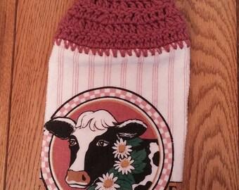Crochet Top Towel, Hanging Hand Towel, Kitchen Towel, Dish Towel, Coffee Towel, Cow Themed Towel