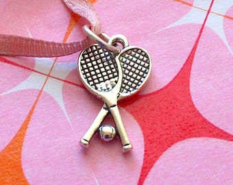 Sterling Silver (.925) Charm Selection ~ Tennis Rackets ~ Double Racket w/ Ball ~ Last Time Listed