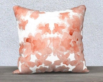 Coral Nursery Pillow, Coral Pillow Case, Coral Throw Pillow, Coral Flower Pillow, Coral Bedroom Pillow, Coral Lumbar Pillow, 14x20, 18x18
