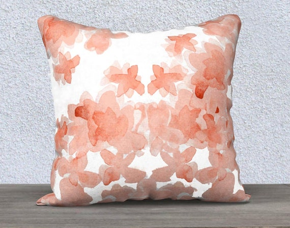 """Coral Girls Pillow with Flowers, 14""""x20"""", 18""""x18"""""""