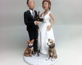 Custom Bride Groom Fishing Pole and Pets Wedding Cake Topper