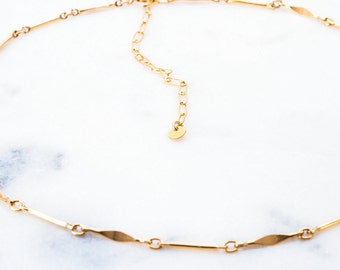 Kamaha'o necklace - gold choker necklace, chain choker necklace, simple link choker necklace, gold filled choker necklace, layering choker