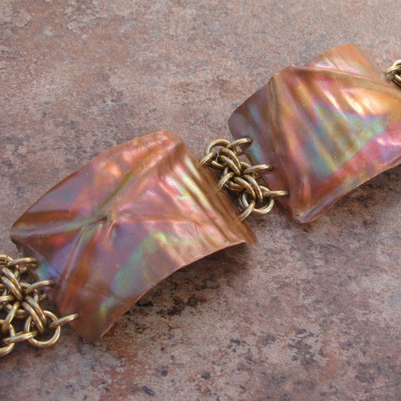 Fold formed copper and bronze chainmaille bracelet in rainbow hues