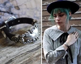 Vintage Bracelet STERLING SILVER Signed 90s Black Leather Belt Bracelet BAND Cuff Accessory Womens Jewelry Gift Boho Grunge Stamped Bracelet