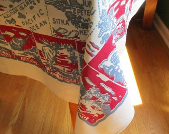 """Map of Alaska - Travel Tablecloth - Red, Greyblue and White - Fun Reading - Sites in Alaska - Border Pattern - 30 X 36"""" - Ready to Use"""