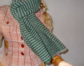 Hand knit long wool scarf