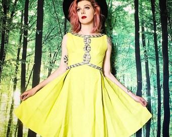 1960s Seaton Enterprises Acid Yellow Beaded A Line Mod Dress