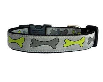 """Bones Dog Collar 5/8"""" or 3/4"""" Black Dog Collar"""