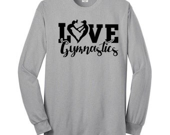 Love Gymnastics Heart Shirt Gymnast T Shirt Long Sleeve Black Ink