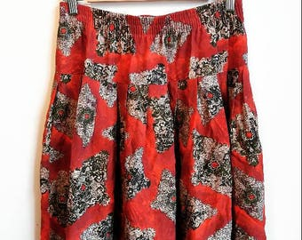 Red Baroque Skirt Vintage Baroque Floral Print Women's Medium Gold Co-ord Set Matching Top and Skirt Two Piece