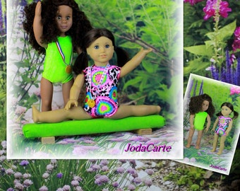 Neon Green Doll Leotards, Medals and Neon Green Balance Beam - American Girl Doll