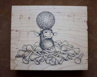 Golf Ball and Tees / Large Rubber Stamp / Mouse / Stampa Rosa