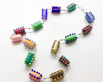 One of a Kind Necklace // Big Bold Necklace // Colorful Necklace // Statement Necklace // Artisan Necklace // Lampwork Necklace