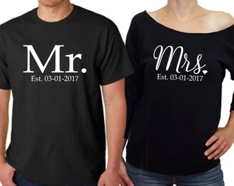 MR and MRS shirts, bridal shower gift, wedding gift, newlywed shirt, mr and mrs est, mr mrs shirts