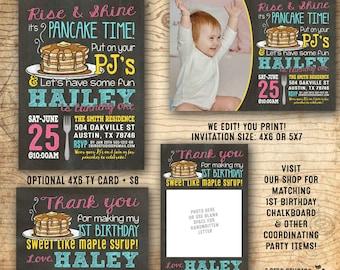 Pancake party invitation - 1st birthday party - Pancakes and Pajamas Invitation - Pajama party - We edit you print chalkboard PDF invitation