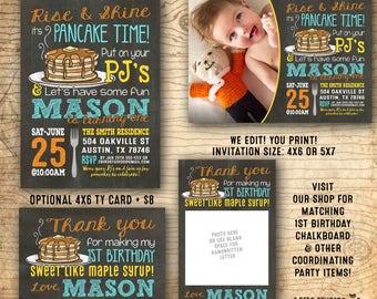Boys 1st birthday party invitation - Pancake party invitation - Pancakes and Pajama party - first birthday - We edit u print chalkboard PDF