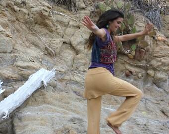 YOGA SKIRT PANTS, white yoga pants, skirted pants, hoop pants, kundalini, elvish pants, wide leg pants