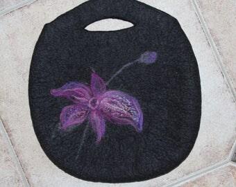 SALE ~ Black graphite Felted handbag felt purse wool tote handmade OOAK with needle felted orchid flower