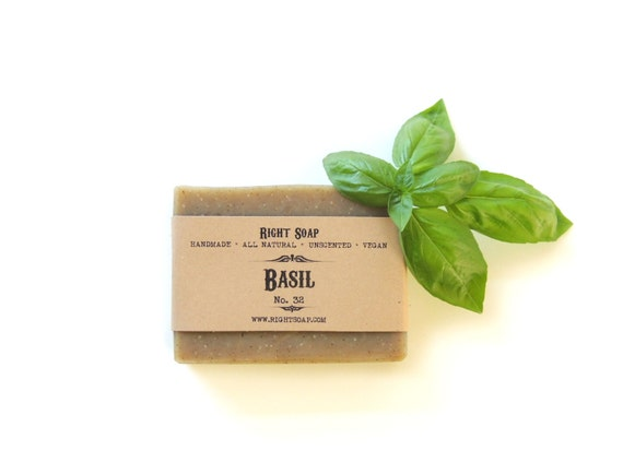 Basil Soap, All Natural Soap, Unscented Soap, Soap, Vegan Soap, Exfoliating soap, christmas gift, Stocking stuffer soap,