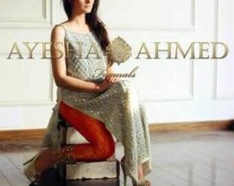 Ayesha Ahmed Paksitani Dress, luxury formal chiffon shalwar kameez, red and silver luxury pret, Pakistani clothing, indian salwar