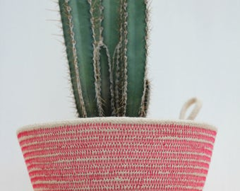 Rope Planter Bowl in Hot Pink (small size)