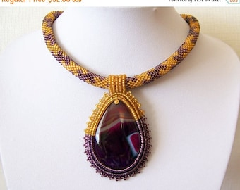 15% SALE Bead Embroidery Pendant Necklace with  Agate - Modern necklace - drop pendant necklace - statement necklace - gold and purple neckl
