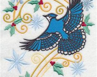 Blue Jay with Snowy Flourish Embroidered Towel | Flour Sack Towel | | Dish Towel | Kitchen Towel | Hand Towel | Christmas Towel