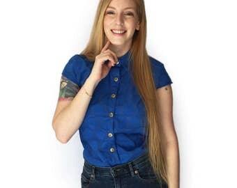 Blue button up shirt, Blue blouse, Women's cotton blouse, Short sleeve button shirt, Summer shirt, Gold button shirt, Circles shirt