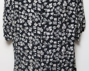 """90's Vintage """"STEFANO MAN"""" Short-Sleeve Abstract Patterned Shirt Sz: LARGE (Men's Exclusive)"""