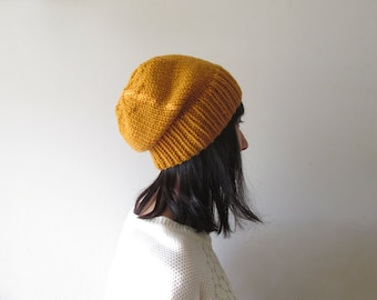 Mustard Yellow Slouchy Hat, Winter Women Hat, Hand Knit Chunky Slouch Hat, Wool Blend, Winter Accessories, Gift for Her, Made to Order