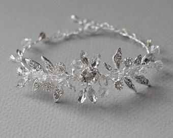 Crystal Floral Bracelet, Rhinestone Bridal Bracelet, Swarovski Crystal Bracelet, Wedding Accessory, Bridal Jewelry, Floral Bracelet ~JB-4835