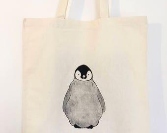 Penguin Tote Bag | 100% cotton | Eco friendly | Reusable shopper bag | Ethically produced | canvas bag |