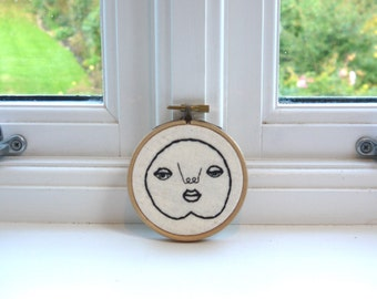 "Happy Chap Tiny Tim // Original Artwork // Hand Embroidery // 3"" Hoop // Illustration"