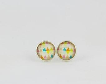 Triangle Pattern Stud Earrings - Flag Garland - Bunting Earrings - 12mm Stud Earrings - Glass Cabochon Earrings