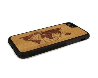 iPhone 7 Case Wood World Map Inlay Bamboo Rosewood, Wood iPhone 7 Case, iPhone 7 Wood Case