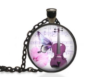 Butterfly Violin Jewelry, Musical Violin Passion Pendant, Violin Butterfly Insect Necklace [A31]