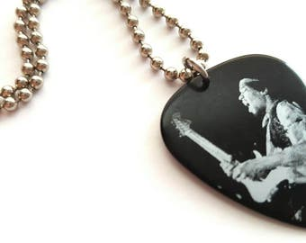 Jimi Hendrix Guitar Pick Necklace with Stainless Steel Ball Chain - music - black and silver
