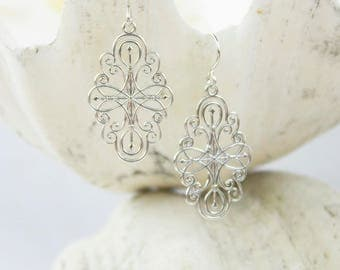 Large Sterling Silver Elegant Mandala Filagree Earrings with French Ear Wires